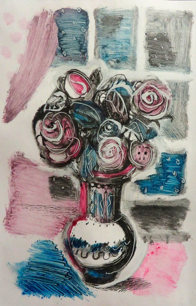 Богомолова Ольга. Розовые розы. Апрель 2016. Монотипия. 19,5х13