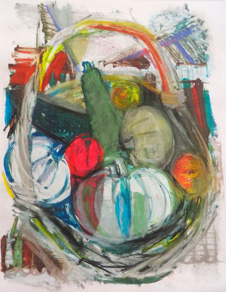 Богомолова Ольга. Натюрморт с тыквами и корзиной. 2016. Монотипия, пастель. 49х37