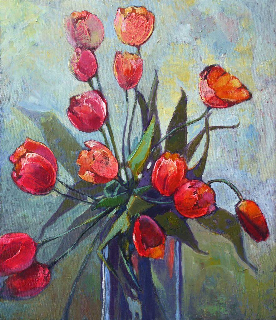 Красные тюльпаны. 60х50 см