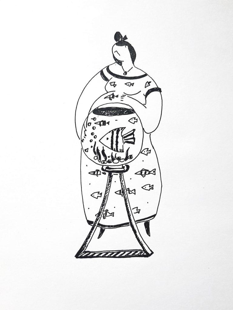 «Золотая рыбка» Гелевая ручка, бумага. 40х50 см 2019 год