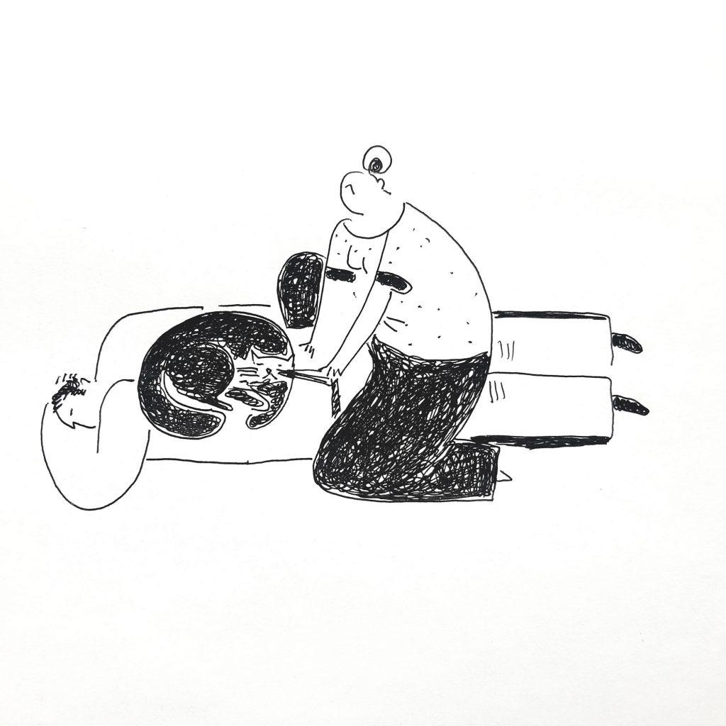 «Котомассаж» Гелевая ручка, бумага. 30х40см 2019 год