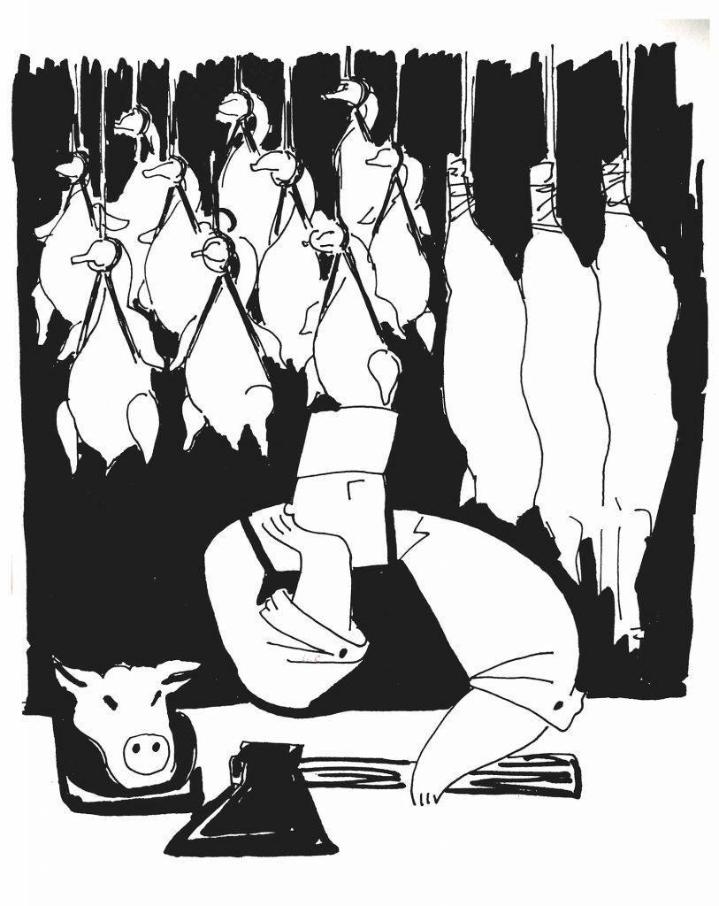 Триптих «Рынок» Гелевая ручка, бумага. 50 Х 70 см .2020 год